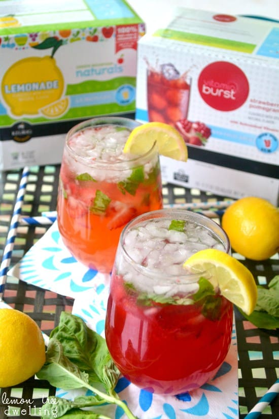 Strawberry-Basil Summer Sippers - deliciously sweet & refreshing! #brewoverice #brewitup #shop #cbias