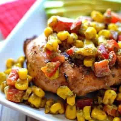 Grilled Chicken w/ Pesto Corn Salsa