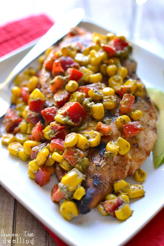 Grilled Chicken w/ Pesto Corn Salsa - quick, easy & jam packed with flavor!