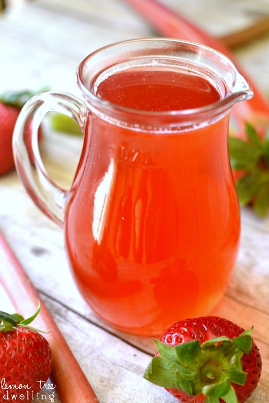 Strawberry Rhubarb Simple Syrup - a delicious addition to your favorite summer drinks & desserts!