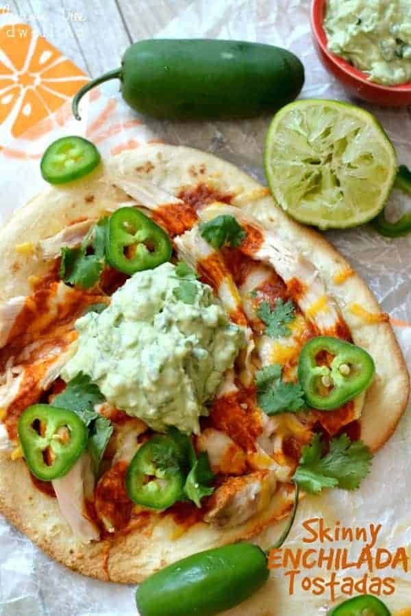 Skinny Enchilada Tostadas with Avocado Crema