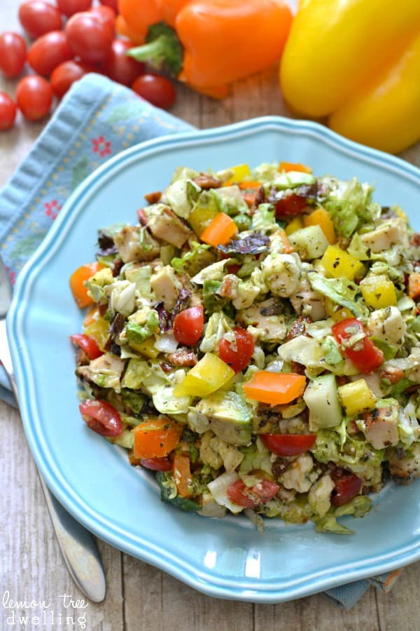 Chopped Italian Salad with homemade Italian vinaigrette. This is one of my favorite summer salads!