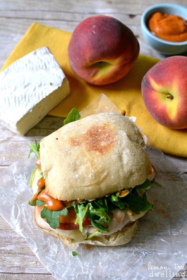 Turkey-Brie Sandwich with peaches, arugula, & spicy mayo