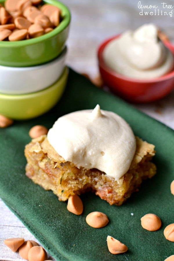Butterscotch Zucchini Blondies with Brown Sugar Buttercream Frosting. OMG delicious!