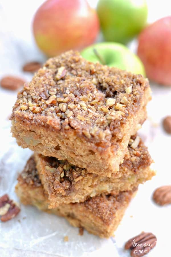 Deliciously moist apple cake with brown sugar-pecan topping. Perfect for breakfast, dessert, or an afternoon snack!