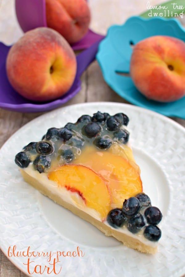 slice of blueberry peach tart