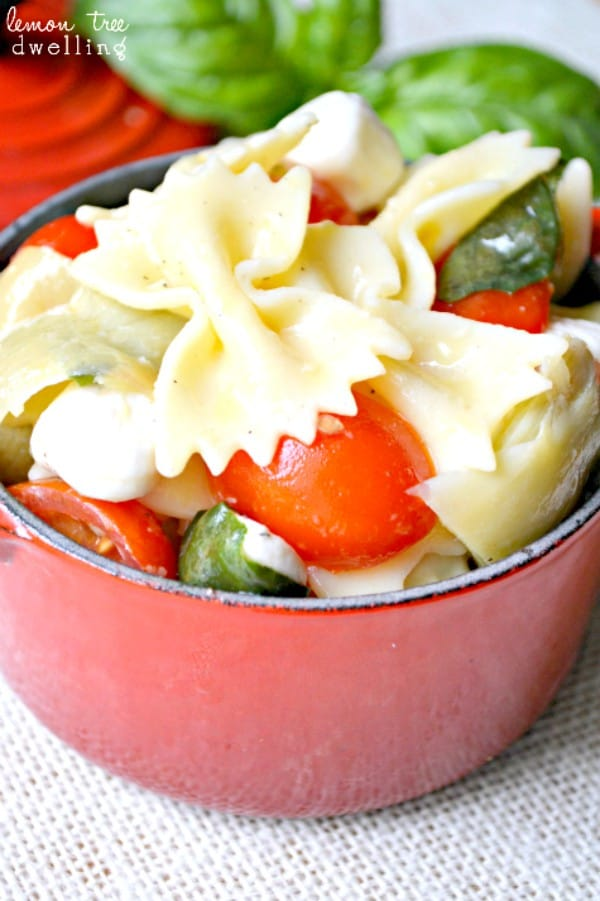 Caprese Artichoke Pasta Salad with homemade Basil Vinaigrette