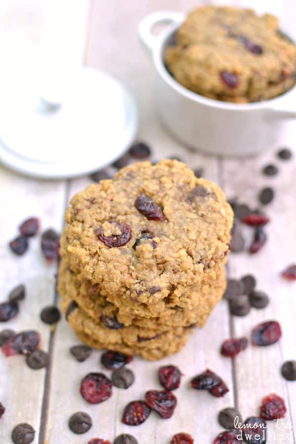 {Flourless} Chocolate Cranberry Coconut Monster Cookies
