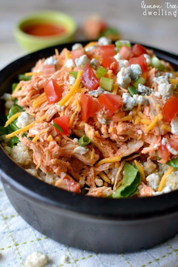 Buffalo Chicken Quinoa Bowl - ranch flavored quinoa, buffalo chicken, and all the fixings!