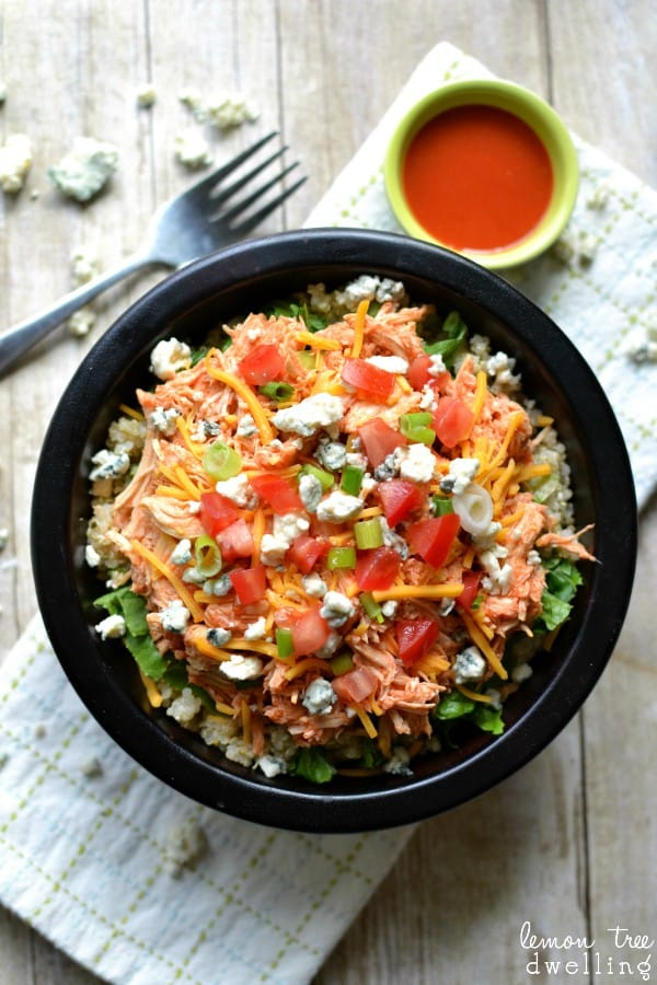 Buffalo Chicken Quinoa Bowl - ranch flavored quinoa, buffalo chicken, and all the fixings!