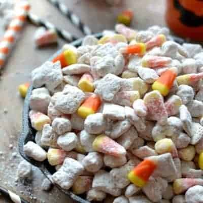 Sweet & Salty White Chocolate Candy Corn Muddy Buddies