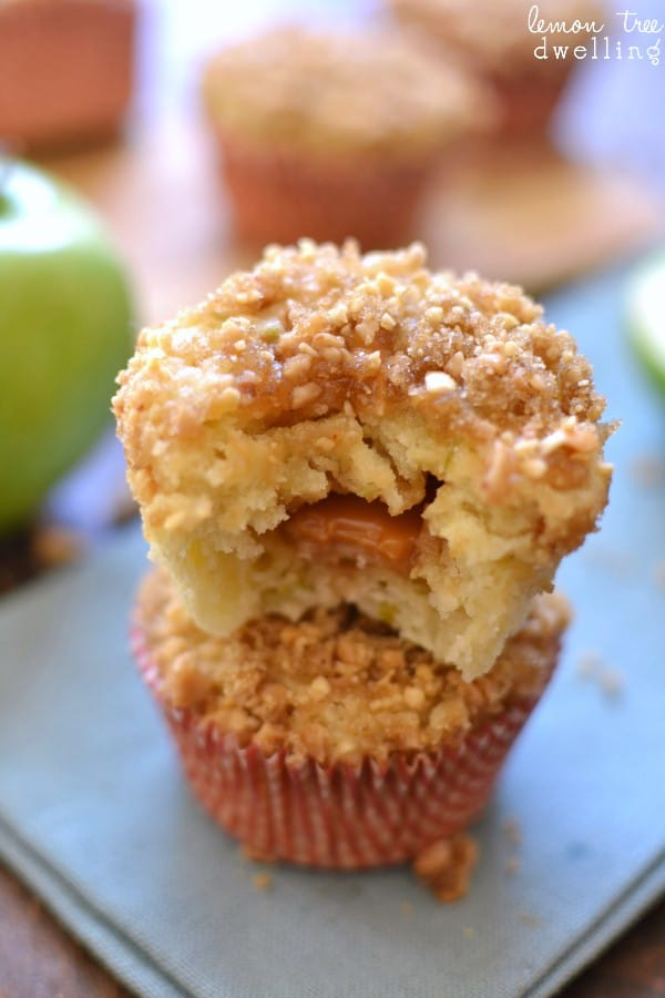 ... Apple Muffins - stuffed with caramel and topped with peanut streusel