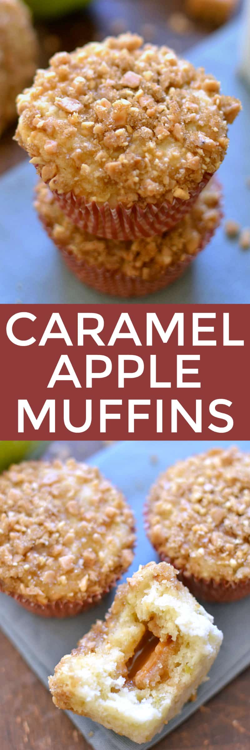 Collage image of Caramel Apple Muffins