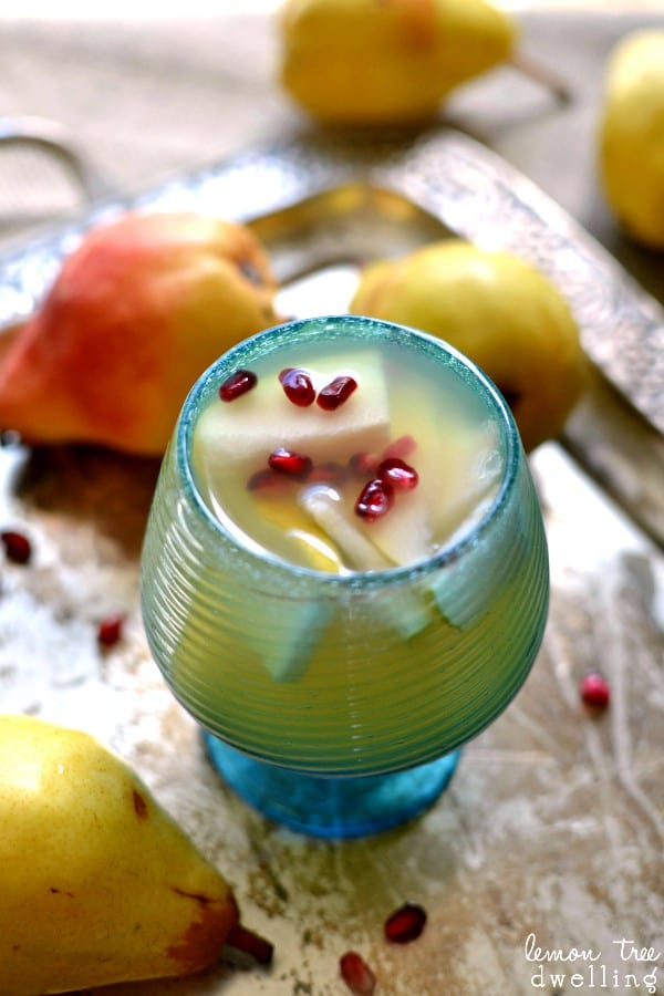 Pear Sangria with fresh pears and pomegranate seeds. Can't wait to try this!