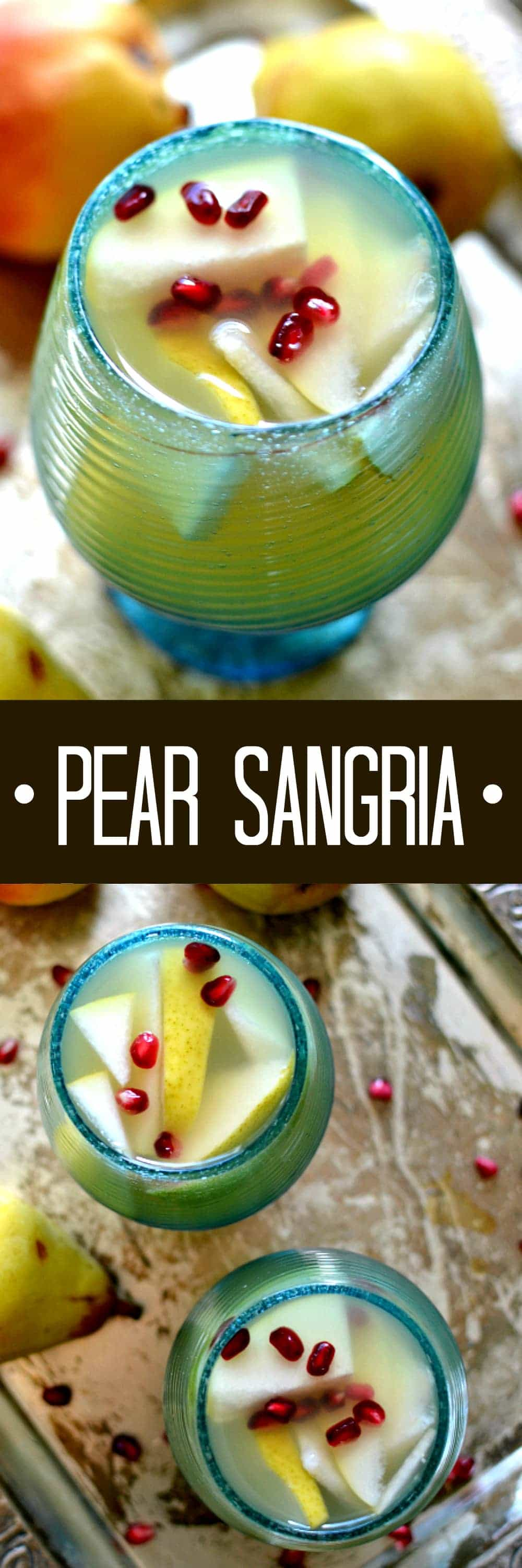 5-ingredient Pear Sangria with sliced pears and pomegranate seeds. Perfectly refreshing for fall!