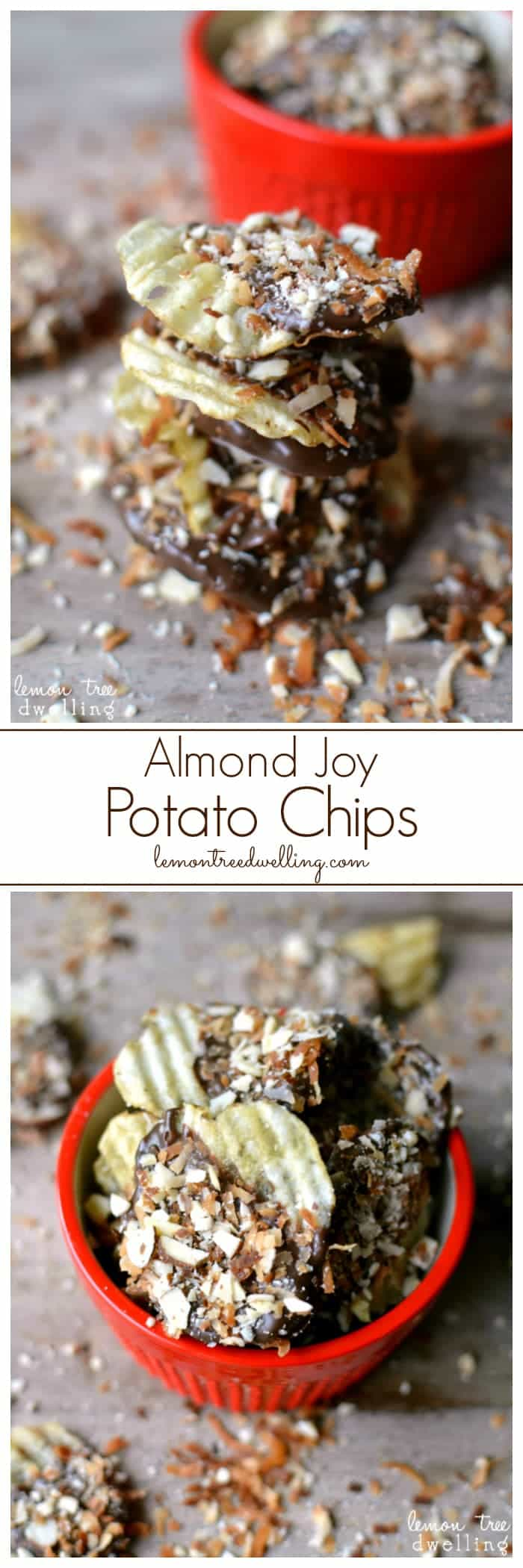 Almond Joy Potato Chips. Salty-sweet and delicious!