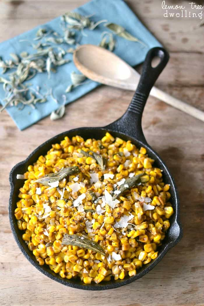 Browned Butter & Sage Skillet Corn - a must-have on your holiday menu!
