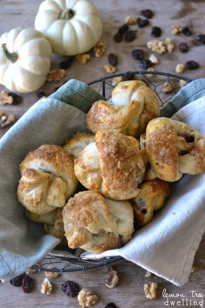 Cranberry Walnut Knots made with Rhodes Dinner Rolls
