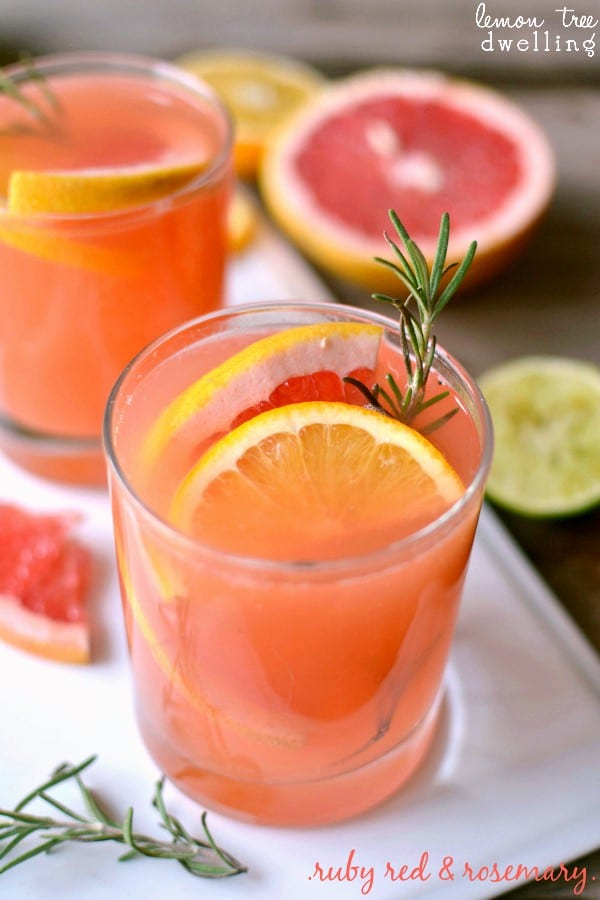 Ruby Red Rosemary Cocktail is a refreshing drink that makes a surprising addition to your fall table. Ruby red grapefruit juice with a splash of lemon and lime and a sweet rosemary simple syrup