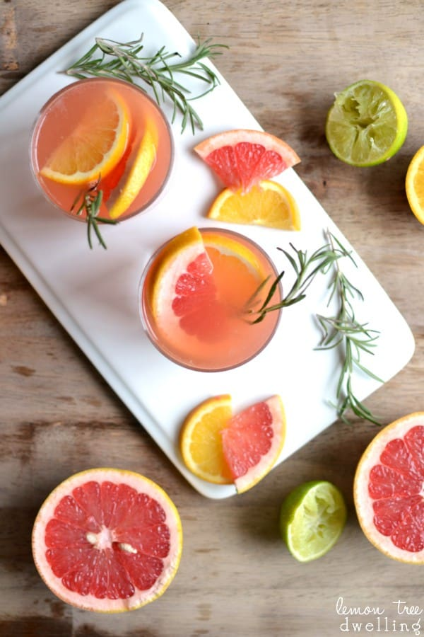 Ruby Red Grapefruit & Rosemary Cocktail