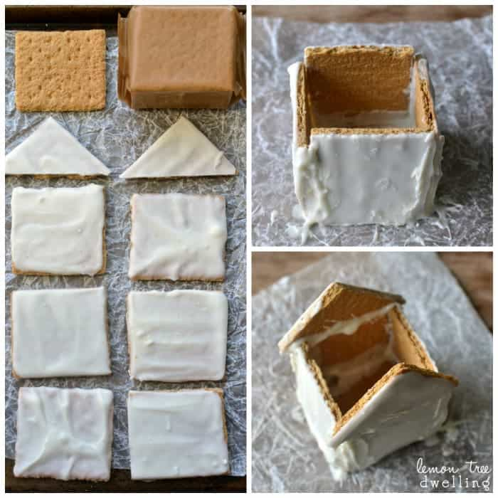 White Chocolate & Peanut Butter Graham Cracker Houses #PBandG #ad