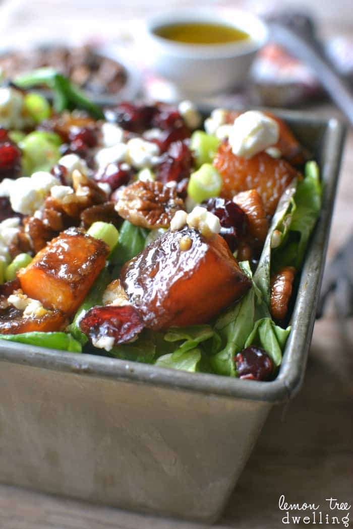Roasted Butternut Squash Salad with Maple Mustard Vinaigrette