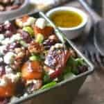 Roasted Butternut Squash Salad is a perfect addition to your Thanksgiving table. This gorgeous salad is full of tasty fall flavors, comes together quickly and looks beautiful next to your turkey dinner!