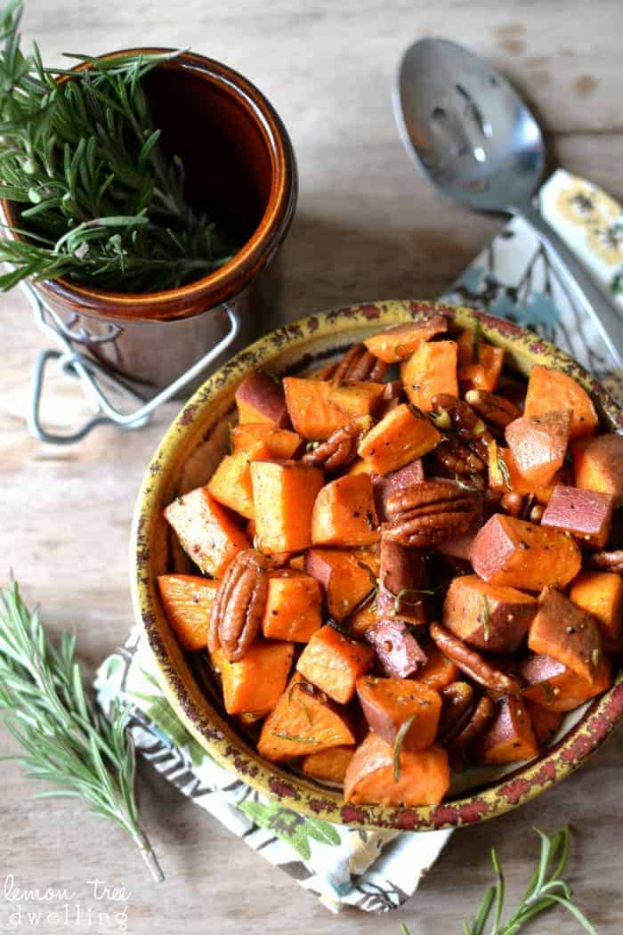 Rosemary Roasted Sweet Potatoes with pecans and a hint of maple syrup!