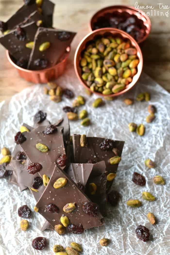 Salted Chocolate Cherry Pistachio Bark - just 4 ingredients and ready in 5 minutes or less!
