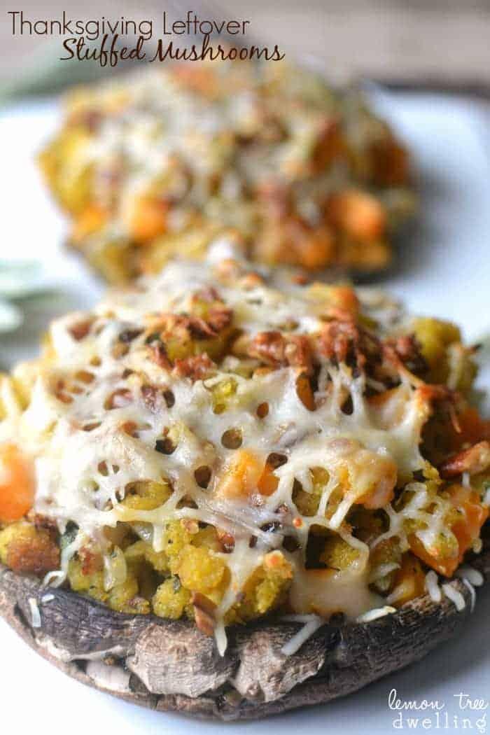 Thanksgiving Leftover Stuffed Mushrooms #TasteTheSeason #ad