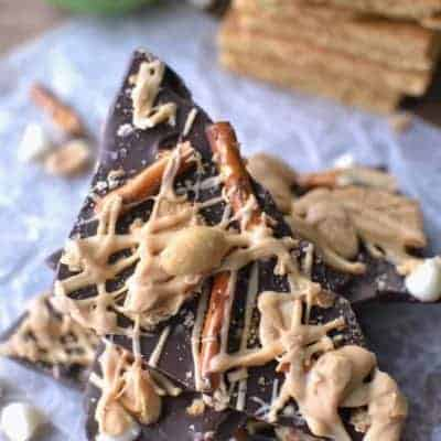 Sweet 'n Salty Double Chocolate Peanut Butter Bark is a decadent dessert or easy snack for all the chocolate lovers in your family. Easy to make and delicious!