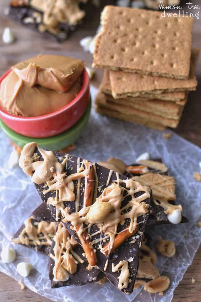 Sweet & Salty Double Chocolate Peanut Butter Bark #PBandG #ad