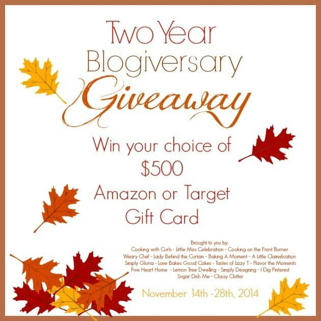 Two Year Blogiversary Giveaway