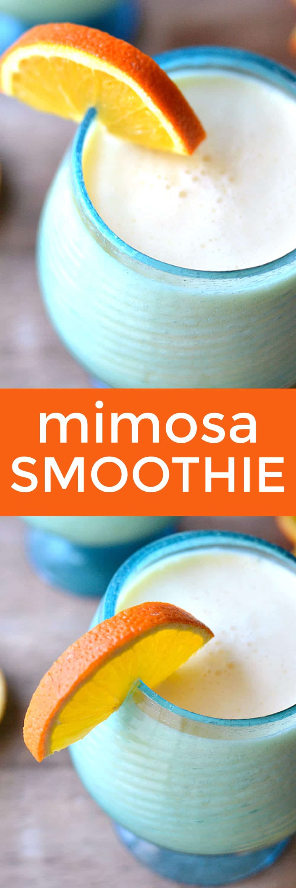 A Mimosa Smoothie combines the delicious flavors of your favorite brunch drink with creamy vanilla yogurt. This 3 ingredient breakfast smoothie is cause for celebration!