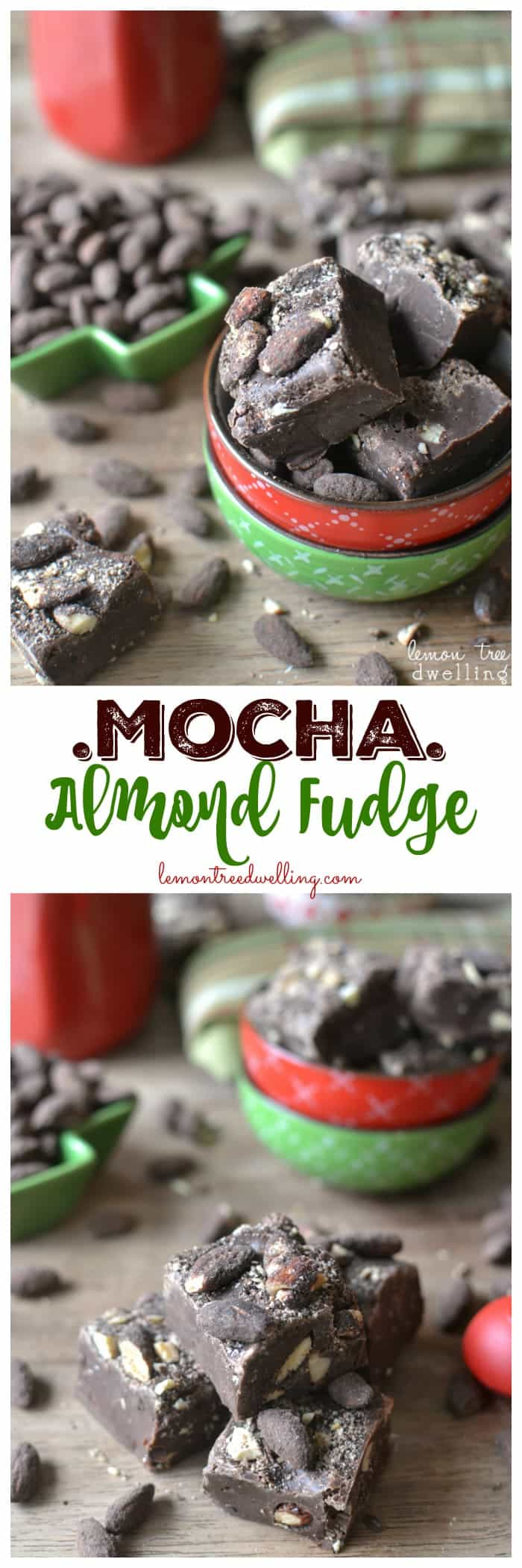 Mocha Almond Fudge is so rich and creamy! Laced with espresso and dark chocolate almonds, this 4 ingredient no-bake fudge is so easy to make and SO delicious!