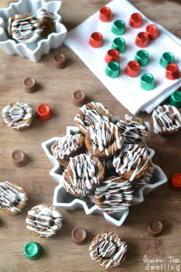 Sweet Molasses Sugar Cookie Cups, rolled in sugar, stuffed with Rolos, and drizzled with white chocolate. A deliciously unexpected combination!