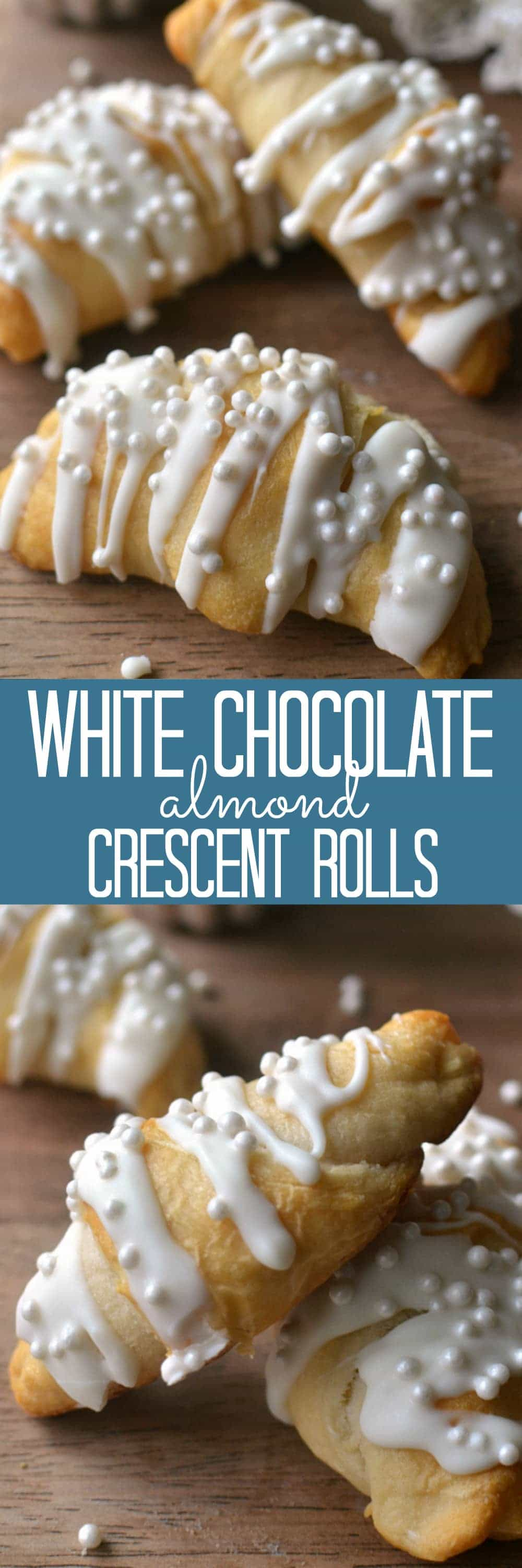 Buttery crescent rolls stuffed with almond cream cheese and sliced almonds and topped with white chocolate and nonpareils. These rolls are not only delicious, they're so pretty, too! Perfect for New Year's morning, a wedding shower, or any special occasion.