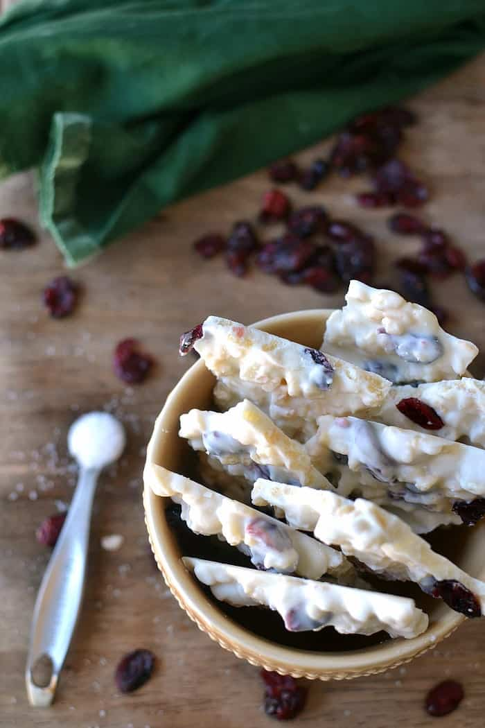 White Chocolate Macadamia Cranberry Bark with a touch of sea salt - the perfect sweet & salty white chocolate combo!