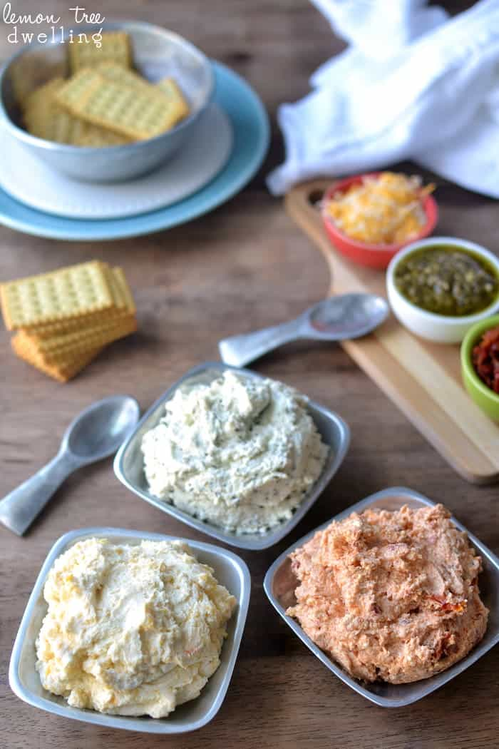 3-Ingredient Cheese Spreads for a grown up cheese and crackers