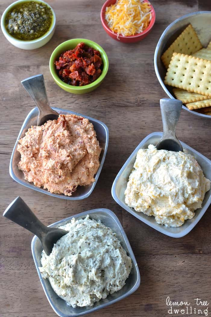 3 Ingredient  Cheese Spreads for grown up cheese and crackers!