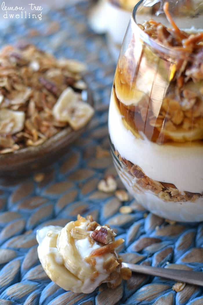 Banana Maple Yogurt Parfait with homemade Banana Bread Granola