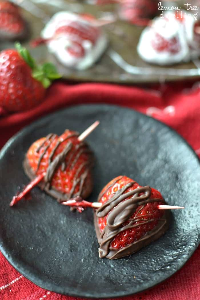 Chocolate Dipped Strawberry Hearts. These are so simple & elegant!