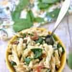 Sun Dried Tomato, Spinach and Goat Cheese Pasta is a delicious simple twist on traditional pasta, this vegetarian dish is perfect for lunch or dinner!