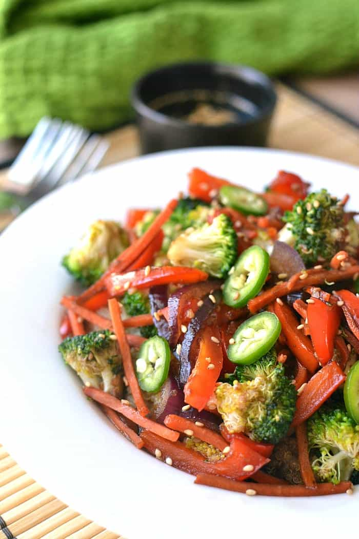 Quinoa Vegetable Stir Fry - start to finish in 20 minutes or less!