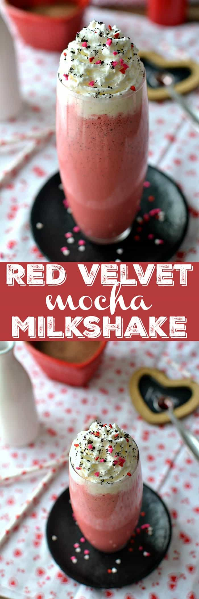 Red Velvet Mocha Milkshake is not your average shake! This dessert milkshake is complete with a touch of cream cheese for that perfect red velvet flavor.
