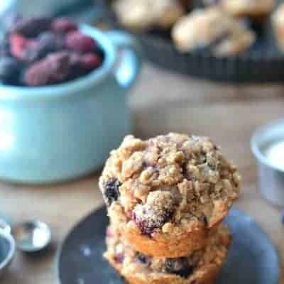Triple Berry Quinoa Muffins are a delicious quick snack and portable breakfast. A delicious, high-protein, low-sugar, grab-and-go breakfast!