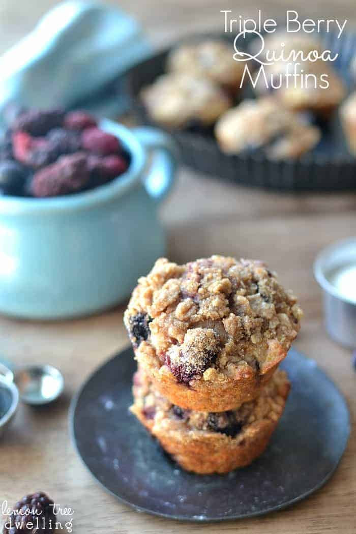 Triple Berry Quinoa Muffins made with Truvia!  What a great breakfast idea!