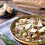 This Pasta e Fagioli Soup is the best soup ever! This one pot dish is full of veggies, beans, sausage, fresh herbs, and noodles.