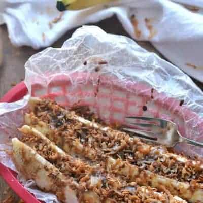 Samoa Banana Boats are a healthier alternative to the Samoa Girl Scout Cookies.