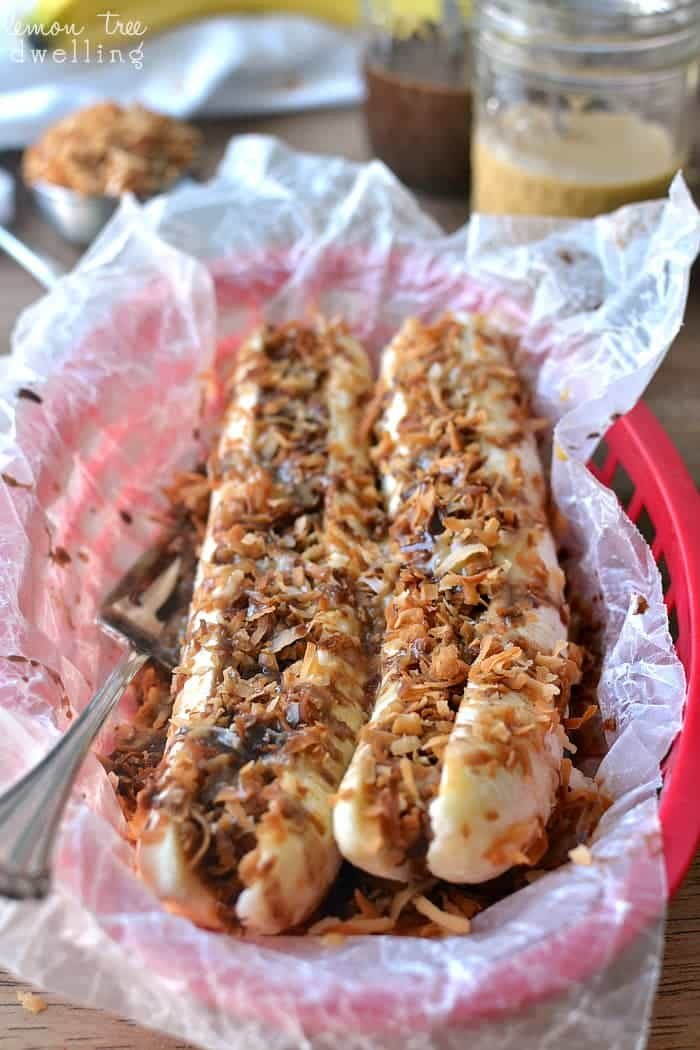Samoa Banana Boats - all the flavors of Samoa Girl Scout Cookies in an easy, healthier treat!